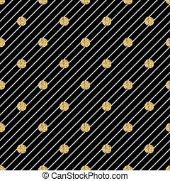 seamless gold dot glitter pattern on stripe background