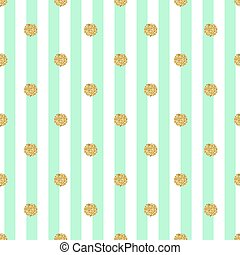 seamless gold dot glitter pattern with stripe green background