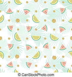 seamless gold dot glitter with mix watermelon pattern background