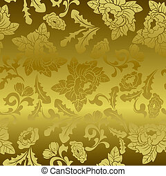 Seamless gold floral pattern