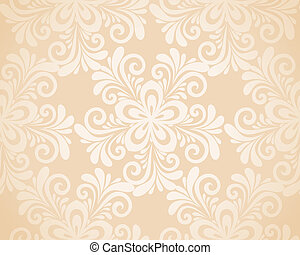 seamless, gold., fond, excellent, floral, fleurs