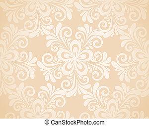 seamless, gold., fondo, eccellente, floreale, fiori