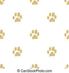 seamless gold glitter animal track pattern on white background