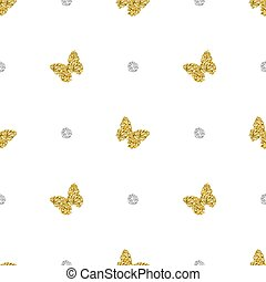 seamless gold glitter butterfly with silver dot pattern background