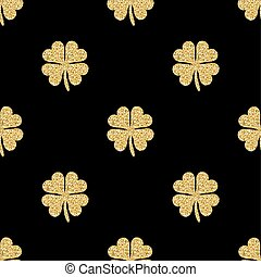 seamless gold glitter clover pattern on black background.