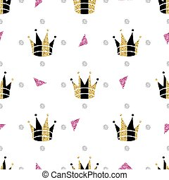 seamless gold glitter crown with pink glitter pattern on black background.