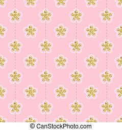 seamless gold glitter flower pattern on pink background
