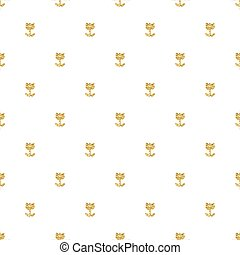 seamless gold glitter flower pattern on white background