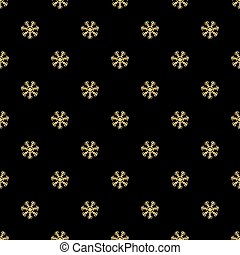 SEAMLESS GOLD GLITTER SNOWFLAKES PATTERN ON BLACK BACKGROUND
