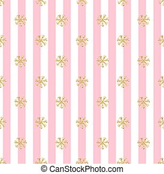 SEAMLESS GOLD GLITTER SNOWFLAKES PATTERN ON PINK STRIPE BACKGROUND