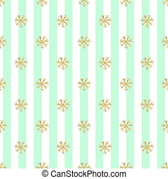 SEAMLESS GOLD GLITTER SNOWFLAKES PATTERN ON STRIPE BACKGROUND