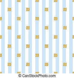 seamless gold glitter square pattern with blue stripe background