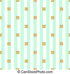 seamless gold glitter square pattern with green stripe background.