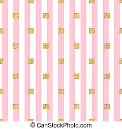 seamless gold glitter square pattern with pink stripe background