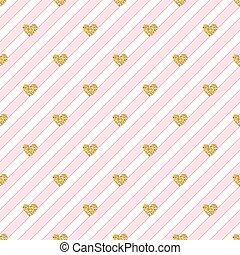 seamless gold heart glitter pattern on pink stripe background