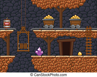 Seamless gold mine background with additional objects.