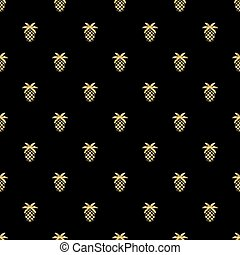 seamless gold pineapple glitter pattern on black background