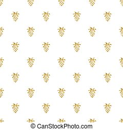 seamless gold pineapple glitter pattern on white background