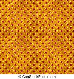 Seamless Gold & Red Polka Dot