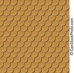 Seamless gold roof tiles vector background.