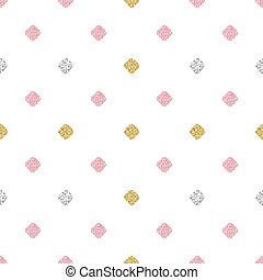 seamless gold, silver and pink square glitter pattern background