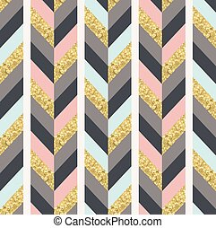 seamless gold textured geometric herringbone pattern - Vector