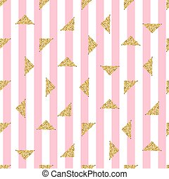 seamless gold triangle glitter pattern with pink stripe background