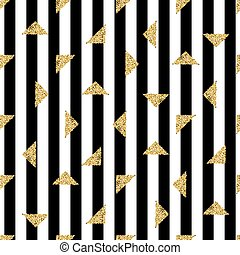 seamless gold triangle glitter pattern with stripe background