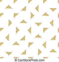 seamless gold triangle glitter pattern with white background