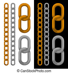 Seamless golden and silver chain. Vector.