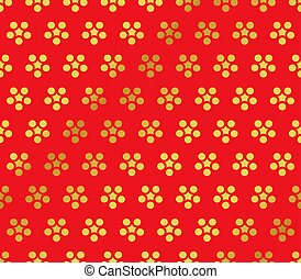 Seamless Golden Chinese Background retro round flower chintz