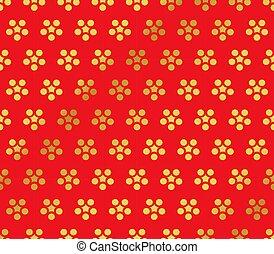 Seamless Golden Chinese Background retro round flower chintz