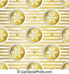 seamless golden christmas pattern on stripe background with gold paper snowflake and dot glitter