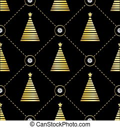 seamless golden christmas pintree pattern on black background with silver dot glitter
