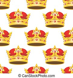 Seamless golden crowns with gems pattern