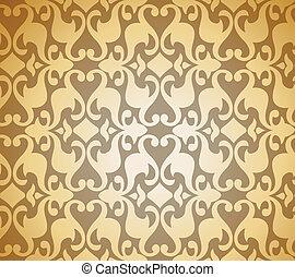 Seamless Golden Damask background. Vector illustration...