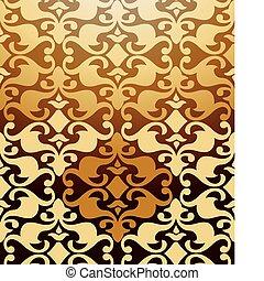 Seamless Golden Damask Pattern. Vector