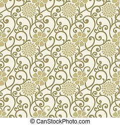 Seamless golden floral background