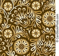 Seamless golden floral pattern