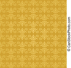 Seamless golden floral wallpaper pattern. This image is a...