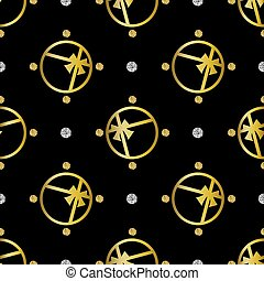 seamless golden gift pattern on black background with glitter polka dot