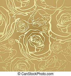 Seamless luxury vector vintage pattern with stylized flowers bouquets of roses. Golden bouquets on a beige background.