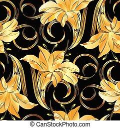 Seamless golden vintage floral pattern on black background