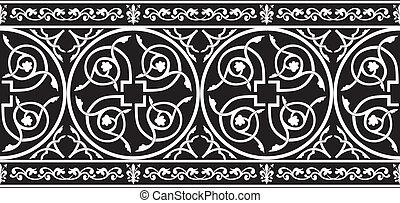 Seamless gothic floral border