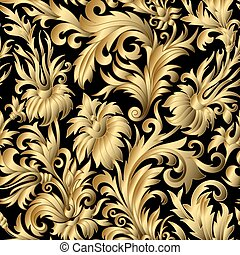 seamless., goud, versieringen, damast