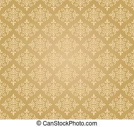 seamless, gouden, floral, behang