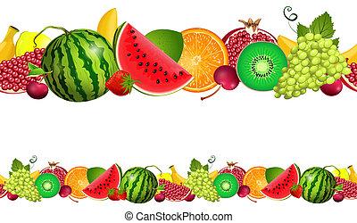 seamless, grænse, i, frugt