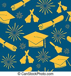 Seamless graduations backdrop of graduation caps, bells and diplomas. Graduate pattern. Celebration background.