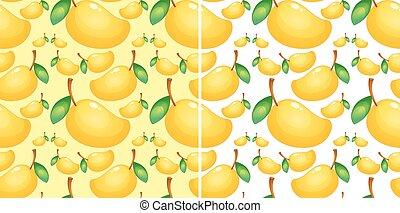 seamless, grafické pozadí, s, čerstvý, mango