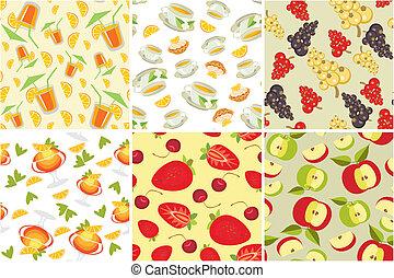 seamless, grafické pozadí, s, strava